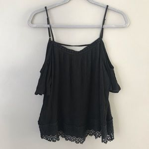 Caution to the Wind cold shoulder boho lace blouse